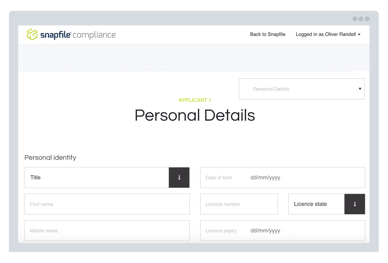 Example of generated personal info form